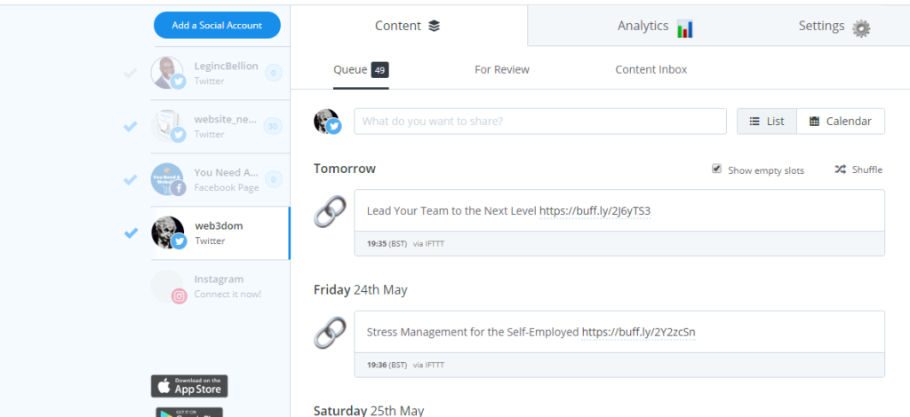 social media scheduling software buffer